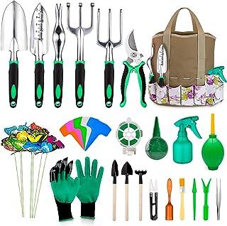 مجموعه 49 عدد ابزار باغبانی ، مجموعه ابزارهای فوق العاده شاد ، ابزار باغبانی سنگین آلومینیوم با ابزار دسته دار لغزنده نرم و لاستیکی ، کیف دستی مخصوص حمل و نقل با دوام ، هدیه برای آقایان