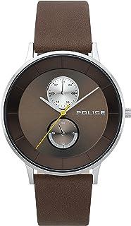 ساعة يد للرجال بهيكل فضي بعرض انالوج من بوليس بيركلي ومينا بلون بني وسوار جلدي بلون بني غامق - موديل PL 15402JS-12