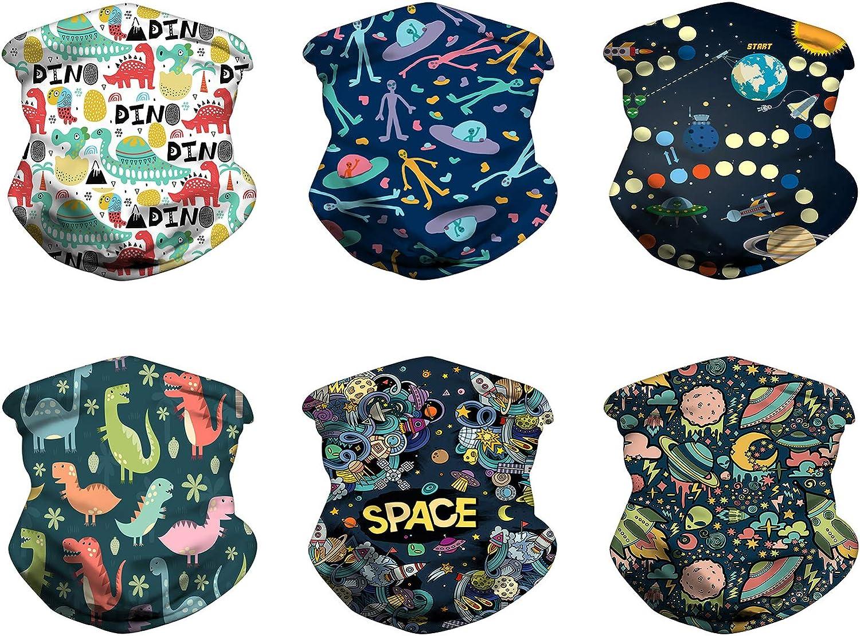 6PCS Neck Gaiter Bandanas Kids Face Covering Mask Scarf Headband Drawstring Elastic Balaclavas Wind UV Protection