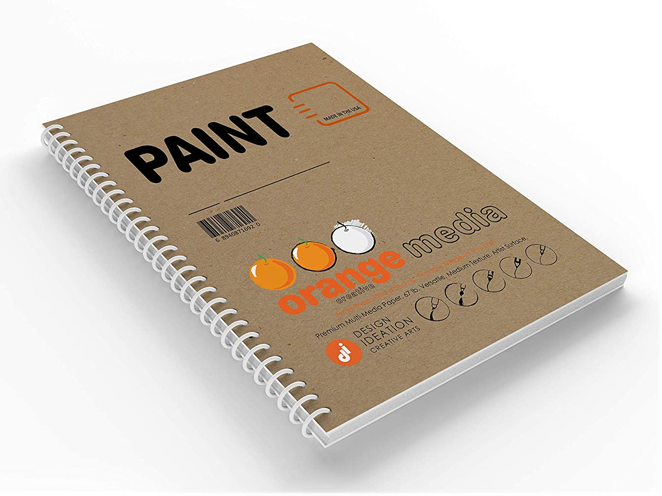 ORANGE WATERCOLOR : Premium Multi-Media Paper Watercolor Book for Pencil, Ink, Marker, Charcoal and Watercolor Paints. Great for Art, Design and Education. (8.5