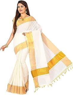 JISB Women's Kerala Cotton Zari border Saree with Fringes, 6.25 mtrs
