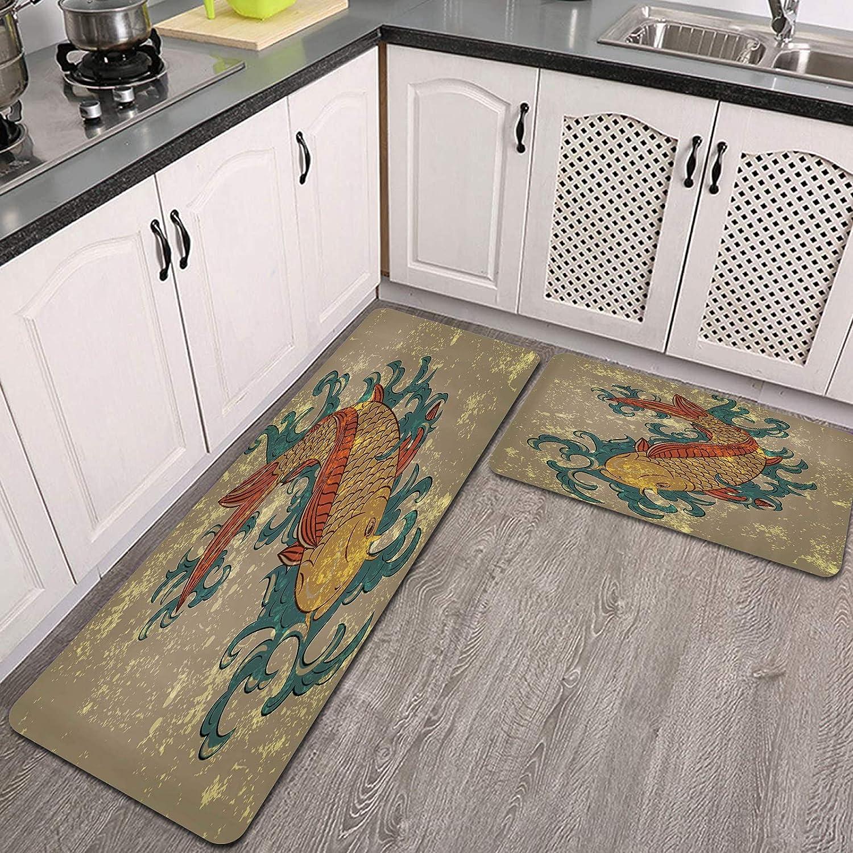 2 Pieces Kitchen Rug Set Grunge depot Fi Directly managed store Style Koi Carp Water Oriental