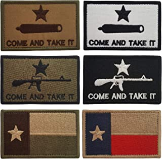 Lightbird 6 PCS Come and Take It & Texas State Flag Tactical Patches, High Density Embroidered Military Morale Decorative Patch