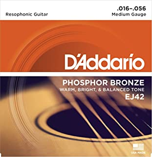 D'Addario EJ42 Phosphor Bronze Acoustic Guitar Strings, Resophonic (1 Set) – Corrosion-Resistant Phosphor Bronze, Offers a Warm, Bright and Well-Balanced Acoustic Tone and Comfortable Playability