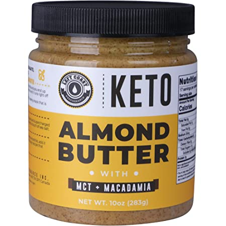 Keto Almond Butter with MCT Oil and Macadamia Nuts. No Sugar Added, Low Carb Nut Butter 10oz   Perfect Fat Bomb for the Ketogenic Diet - 1g Net Carbs