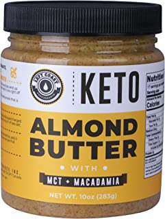 Keto Almond Butter with MCT Oil and Macadamia Nuts. No Sugar Added, Low Carb Nut Butter 10oz | Perfect Fat Bomb for the Ke...