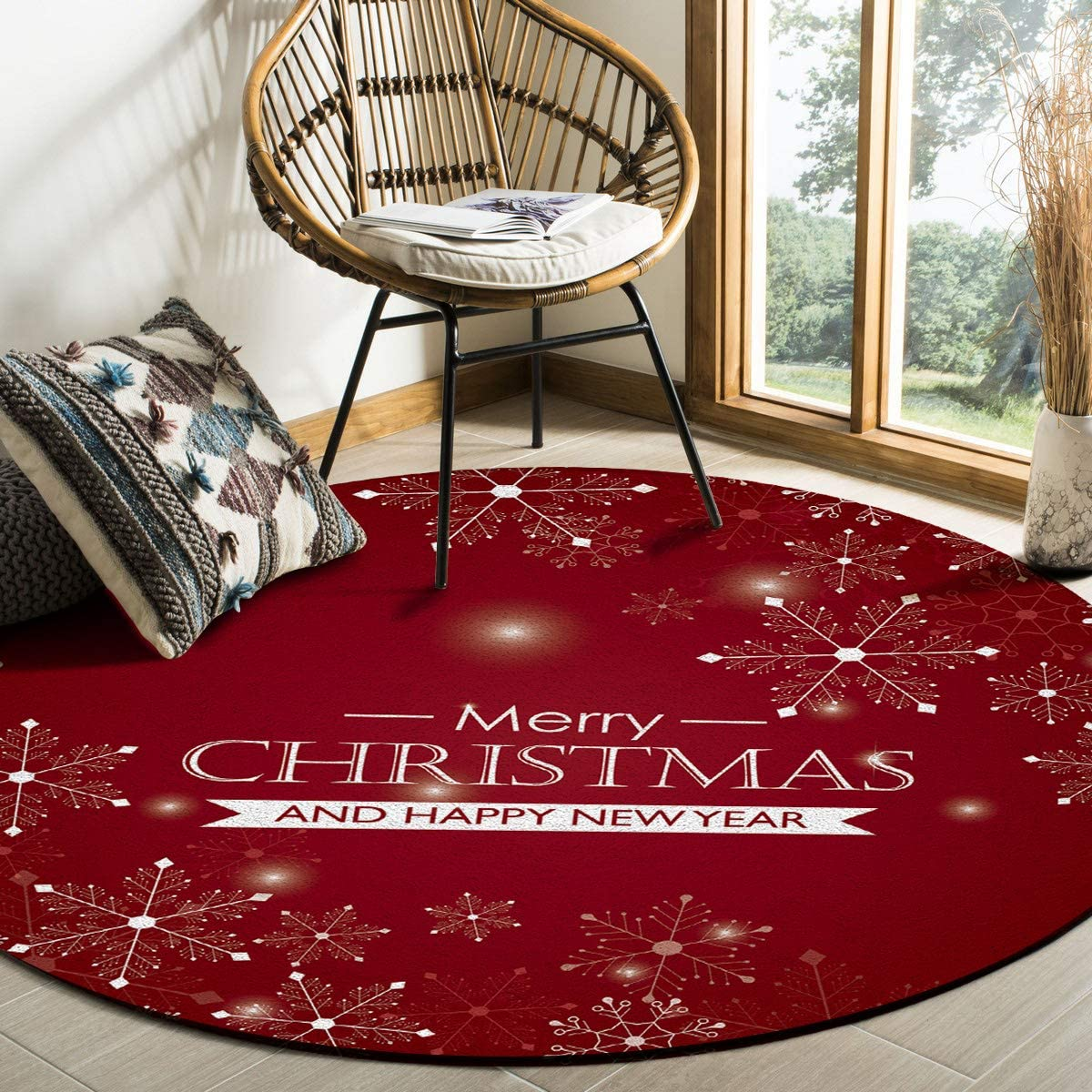 Merry Christmas Snowflake Area Rug Round Yea Rugs 4ft New products, world's highest quality popular! Bombing new work Happy New