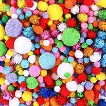 HEHALI 1000pcs Pom Poms Craft Making Assorted Sizes & Colors, Creative Craft DIY Material