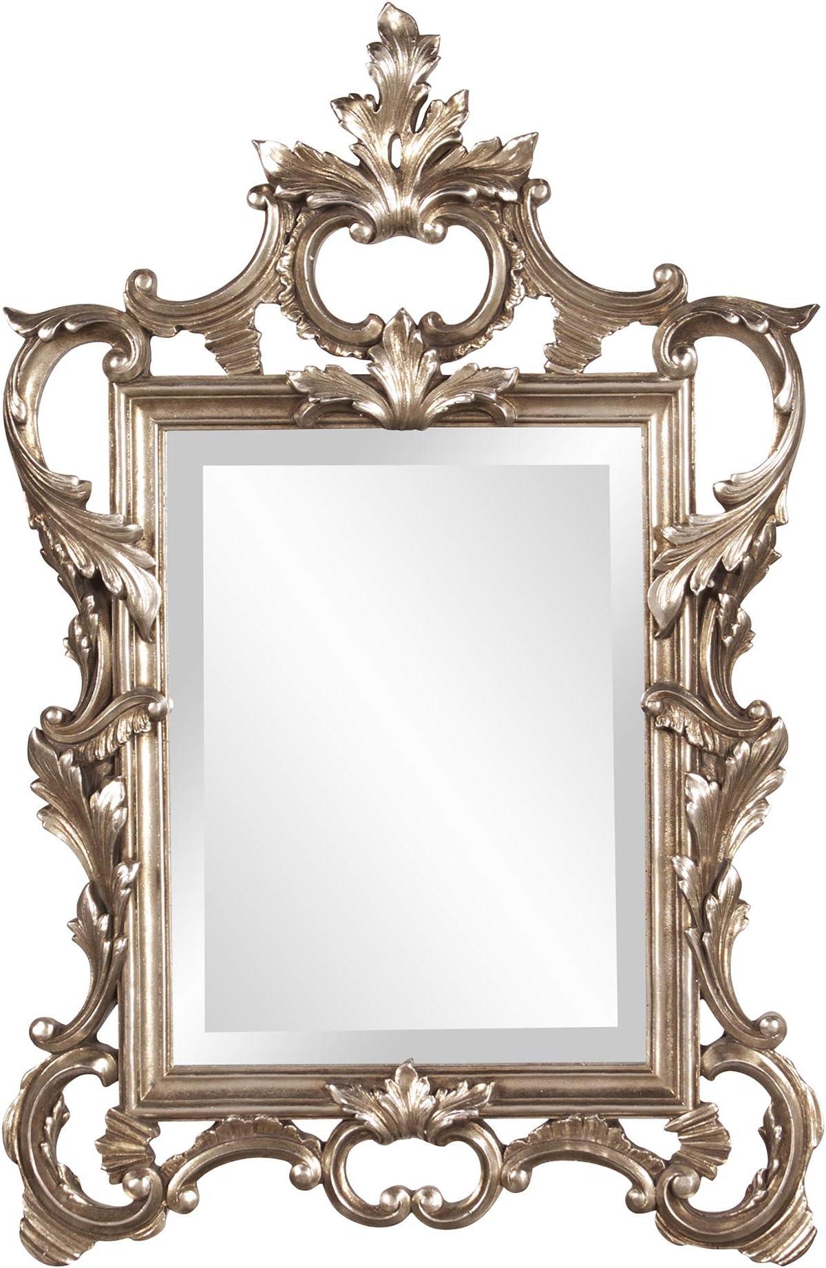 Howard Elliott 84012 Andrews Scroll Mirror, Champagne with Silver Leaf