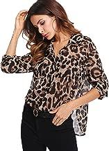 Floerns Women's Long Sleeve Button Down Sheer Leopard Print Chiffon Blouse