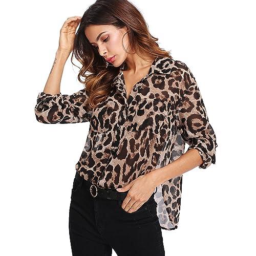 d2fd48729 Floerns Women's Long Sleeve Button Down Sheer Leopard Print Chiffon Blouse