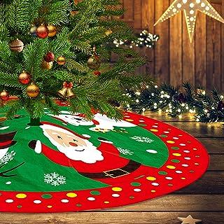 Traditional Christmas Tree Skirt Santa & Reindeer Tree Ornaments Tree Skirt for Christmas Decoration