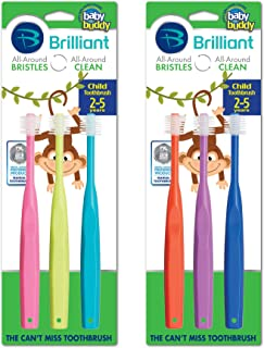 Brilliant Child Toothbrush by Baby Buddy - For Ages 2+ Years,  BPA Free Super-Fine Micro Bristles Clean All-Around Mouth,  Kids Love Them,  6 Count Multi-Color
