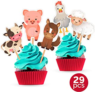 Farm Animal Cupcake Toppers - Birthday Party Baby Shower Decorations Supplies - 25 PCS