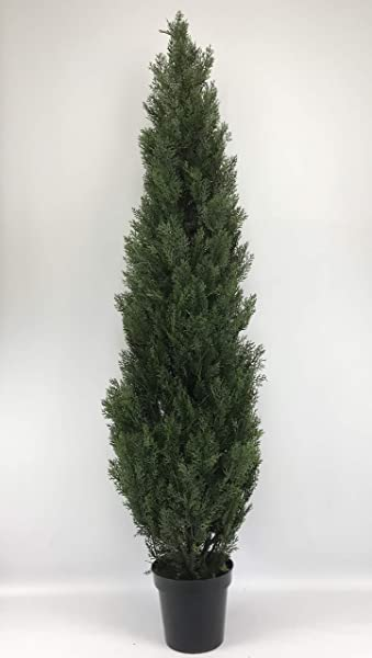 Silk Tree Warehouse Company Inc One 6 Foot Outdoor Artificial Cedar Topiary Tree UV Rated One Piece Construction