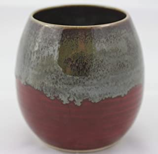 Ceramic Mate Gourd aka Yerba Mate Cup Funky Red Swirl with Optional Bombillas (Metal Straw)
