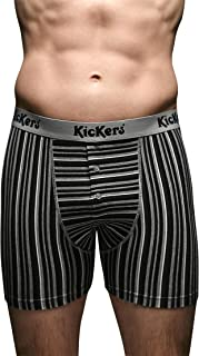 Kickers 2 Pair Men's Cotton Jersey Boxer Shorts Small Grey Striped 30-32