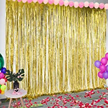Leegleri Golden Graduation Photo Booth Props Backdrop Curtain Foil Fringe Metallic Tinsel Backgrounds for Wedding Party Supplies(3.2 ft x 8 ft,3 Pack)