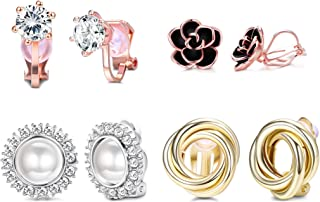 4 Pairs Clip Earrings for Women Fashion Rose Flower CZ Pearl Twist Knot Hypoallergenic Non Pierced Clip On Earrings