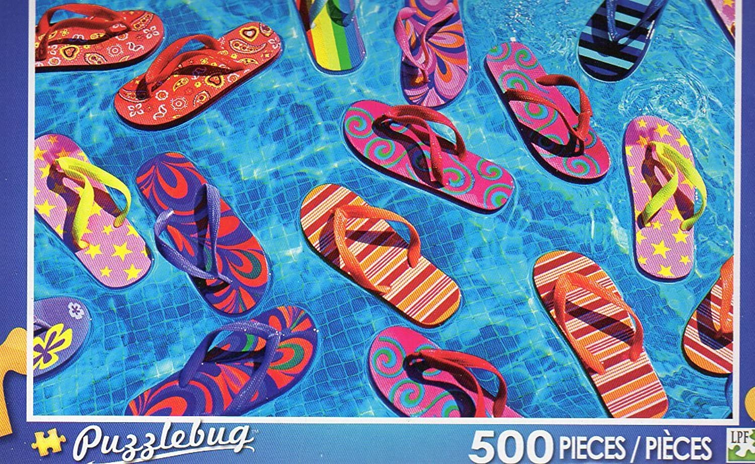 colorful Flipflops Floating in a Pool  Puzzlebug 500 Piece Jigsaw Puzzle by Puzzlebug