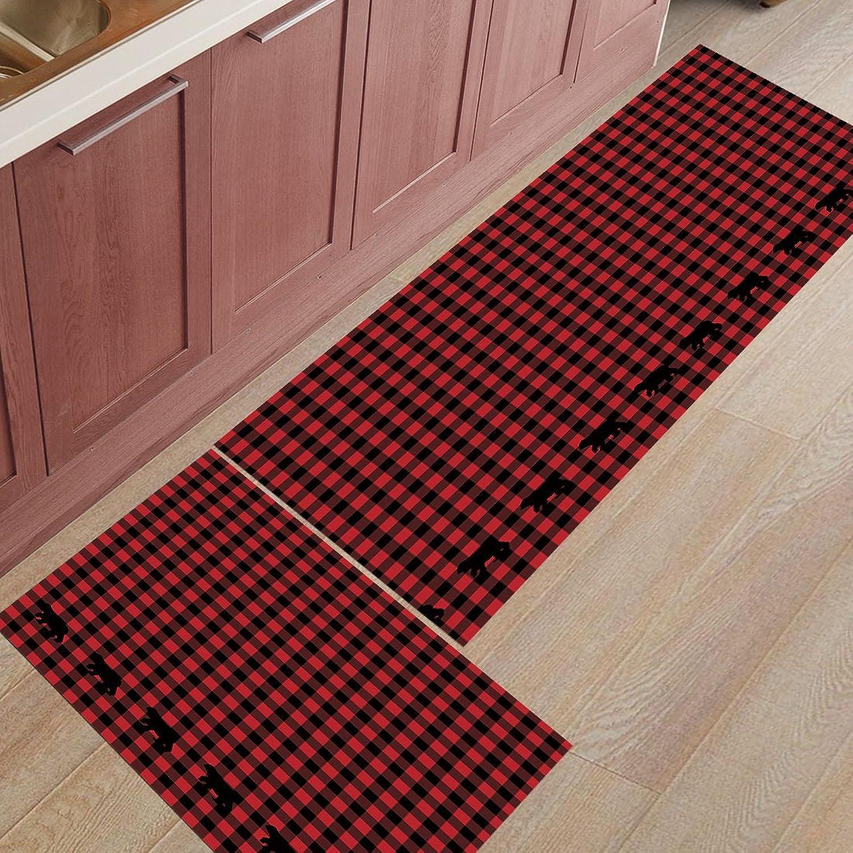 Findamy 2-Piece Non-Slip Indoor Door Mat Kitchen Rug Rectangle Absorbent Moisture Floor Carpet for Black Red Plaid Pattern Doormat 19.7x31.5In+19.7x47.2In