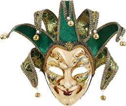 Full Face Venetian Jester Mask Masquerade Green Hand Painted Joker Wall Decorative Art Collection (Green)