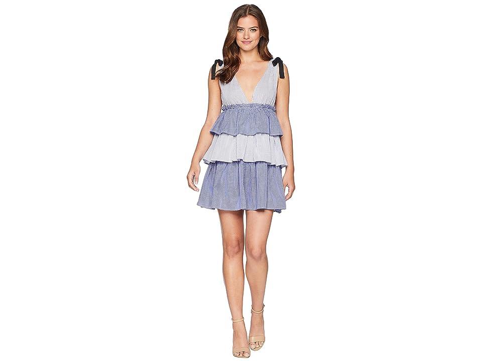 ROMEO & JULIET COUTURE V-Neckline Tiered Midi Dress (Blue/White) Women