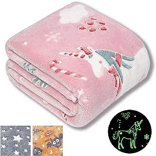 Forestar Unicorn Gifts for Girls, Christmas Girls Gifts, Glow in The Dark Pink Unicorn Blanket, Premium Super Soft Fuzzy Throw Blanket(50