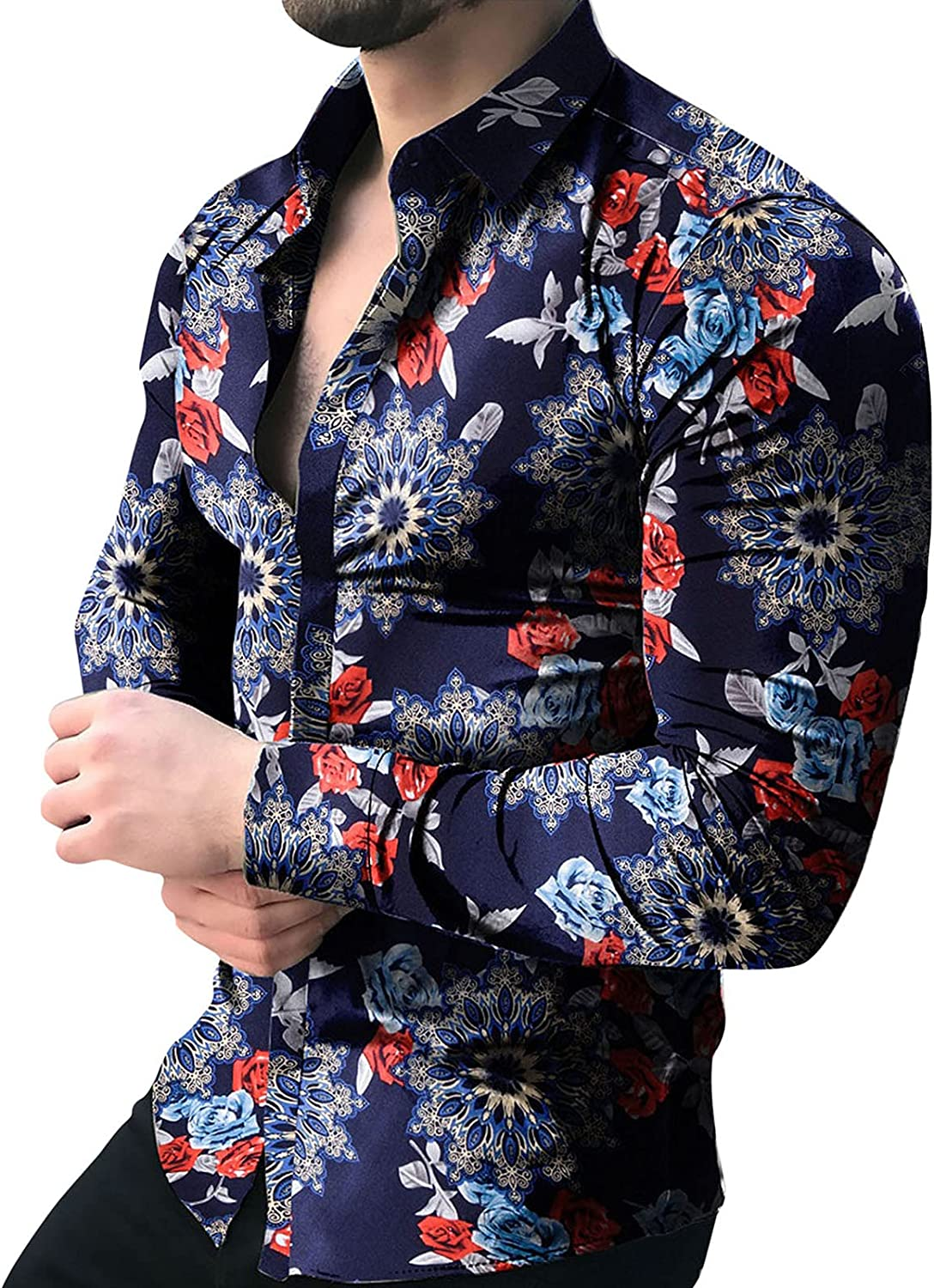 FUNEY Men's Long Sleeve Button Down Shirts Floral Rose Printed Fashion Casual Slim Fit Dress Shirt for Party/Wedding/Shows