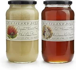 Combo Bundle Raw and Organic Hawaiian Honey by Big Island Bees - Large 47 oz Glass Jar (2 Pack, Lehua/MacNut)