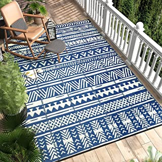 MontVoo Reversible Boho Outdoor Rugs 4' x 6' Easy Cleaning Waterproof Outdoor Patio Rug Non-Slip Durable Large Area Rug fo...