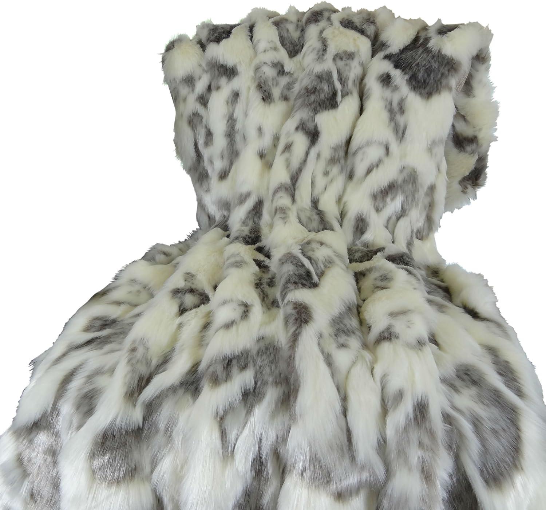 Fashion Plutus Brands Rabbit Fur Throw Pillow 60 100% quality warranty! Ivory x 84 Gray