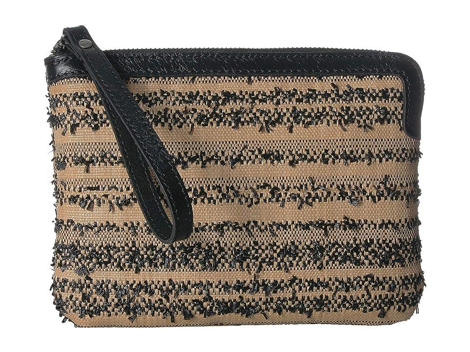 Patricia Nash Ebbe Woven Straw Cassini Wristlet (Black) Wristlet Handbags