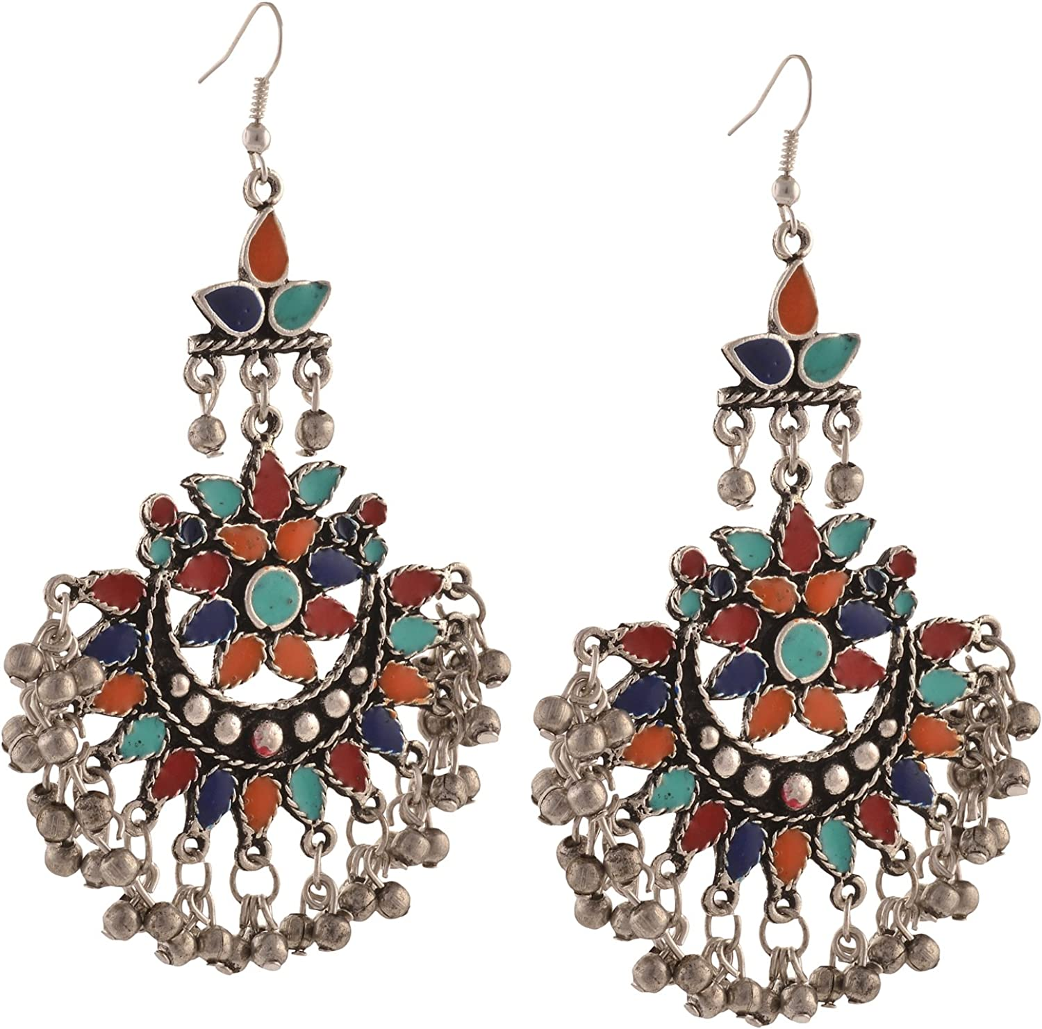 Special store price Zephyrr Fashion Multicolor Oxidized Tribal Silver Dangle Afghani