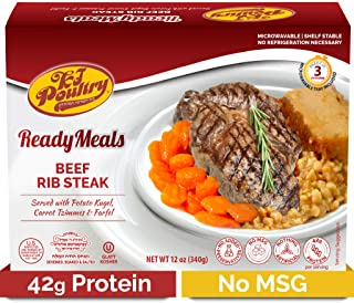 Kosher Mre Meat Meals Ready to Eat, Beef Rib Steak (1 Pack) 42g Protien - Prepared Entree Fully Cooked, Shelf Stable Microwave Dinner – Travel, Military, Camping, Emergency Survival Canned Food Supply