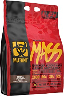MUTANT MASS Weight Gainer Protein Powder with Whey, and Casein Protein Blend for High-Calorie Workout Shakes, Smoothies, and Drinks, 15 lb - Triple Chocolate