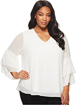 Plus Size V-Neck Blouse with Two Tier Sleeve