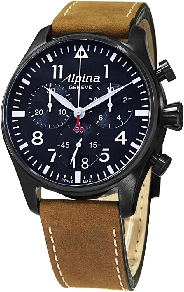 Alpina uhr al orologio cronografo da uomo con cassa in acciaio inossidabile e cinturino in pelle AL-372N4FBS6