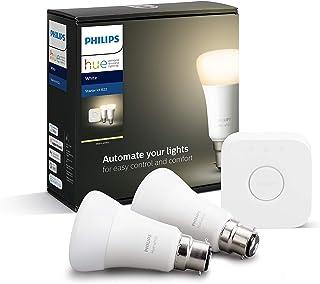 Philips Hue White Starter Kit: Smart Bulb Twin Pack LED [B22 Bayonet Cap] Including Bridge, Compatible with Alexa, Google ...