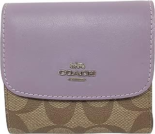 Coach Signature PVC Small Wallet Khaki Lilac