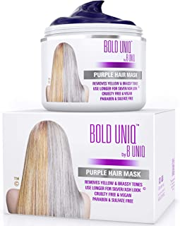 Purple Hair Mask For Blonde, Platinum, Silver Hair - Banish Yellow Hues: Blue Masque to Reduce Brassiness & Condition Dry Damaged Hair - Sulfate-Free Toner - 7 Fl. Oz / 200 ml