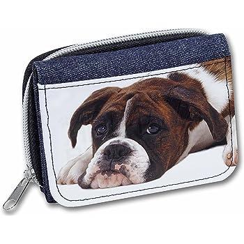 AD-B29JW Boxer Dog Puppies Girls//Ladies Denim Purse Wallet Christmas Gift Idea