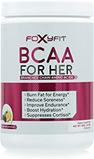 FoxyFit BCAA for Her, Branched Chain Amino Acids for Women to Boost Hydration and Reduce Soreness, BlackBerry Lemonade (BCAA Powder - 20 Servings)