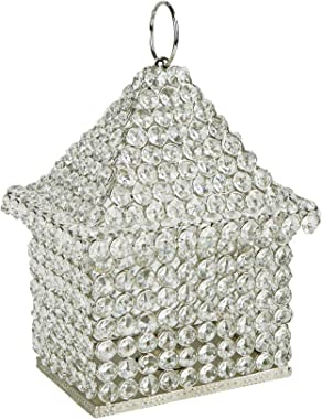 Mind Reader CRYSTERN-SIL Crystal, House Shaped Decorative, Pullout Candle Holder Piece, Indoor Outdoor Hanging Lantern, Silve
