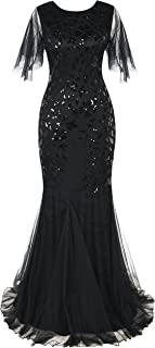Women's Evening Dress 1920s Sequin Mermaid Hem Maxi Long Formal Ball Gown - coolthings.us