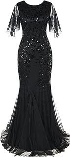 Women's Evening Dress 1920s Sequin Mermaid Hem Maxi Long Formal Ball Gown