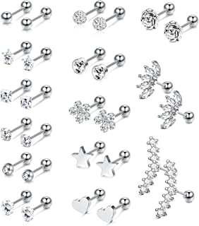 14 Pairs Stainless Steel Ear Cartilage Piercing Earrings Helix Tragus Barbell for Women Men Moon Star Heart Flower CZ Stackable Cartilage Earrings Set Silver-tone Rose Gold-tone Rose Gold-tone