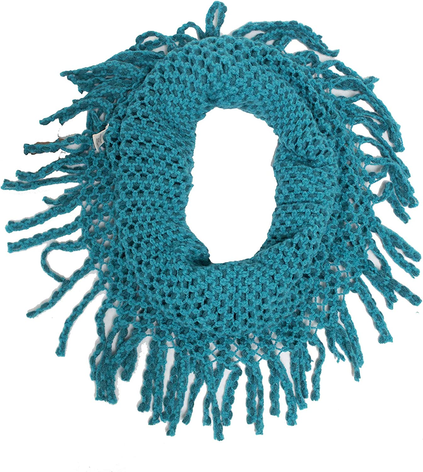 StylesILove Womens Winter Warm Solid Mini Tube Infinity Scarf With Fringe