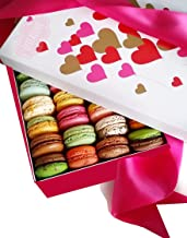 LeilaLove Macarons 21 Gourmet Macarons - Freshly baked to order - Love in Paris box contains hand crafted and hand made Macarons - 3 love characters and 18 classics