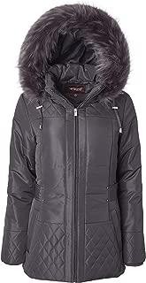 Women Midlength Down Alternative Quilt Winter Puffer Coat Zip Off Fur Trim Hood